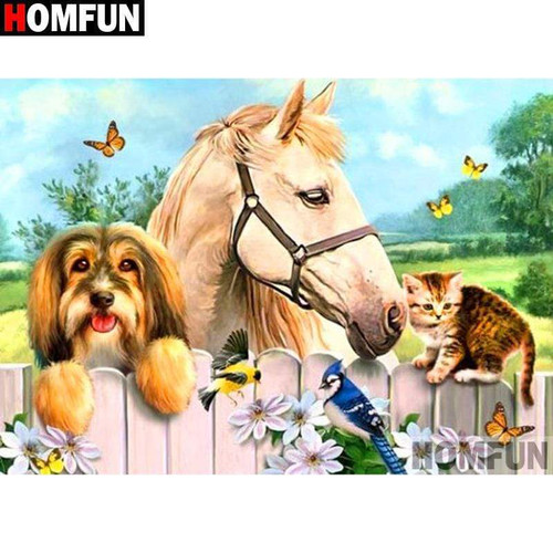 5D Diamond Painting Animals at the Fence Kit