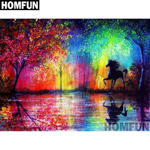 5D Diamond Painting Horse in a Rainbow Forest Kit
