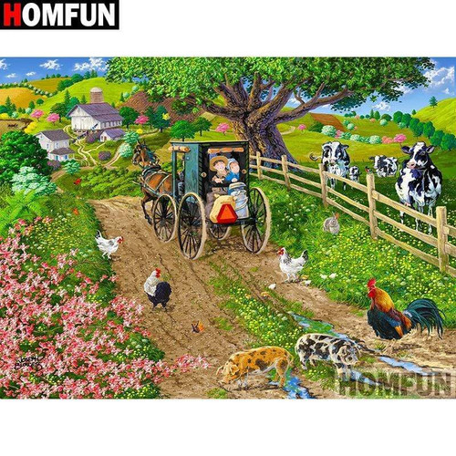 5D Diamond Painting Countryside Wagon Ride Kit