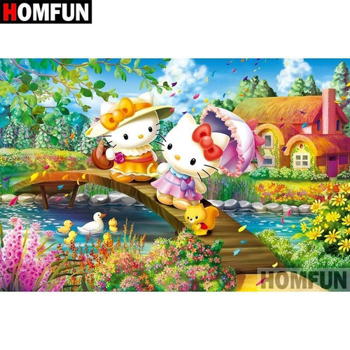 5D Diamond Painting Hello Kitty and Sister Mimmy White Kit