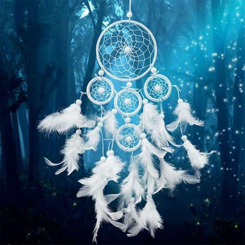 5D Diamond Painting White Feather Circle Dream Catcher Kit