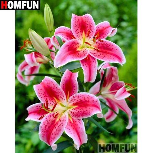 5D Diamond Painting Pink Star Lilies Kit