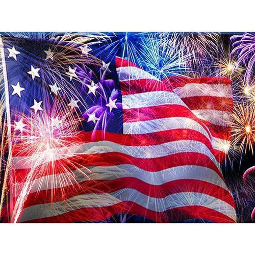 5D Diamond Painting American Flag Fireworks Kit