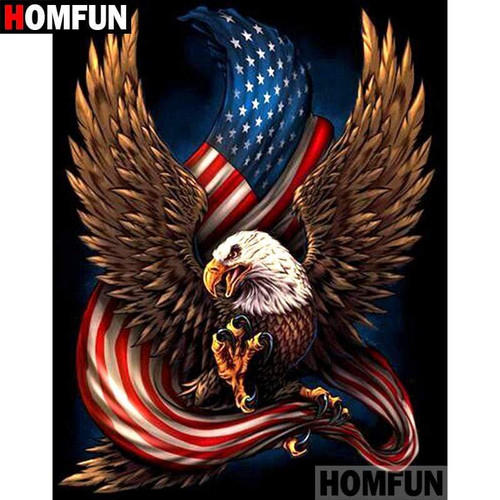 5D Diamond Painting American Eagle and Flag Kit