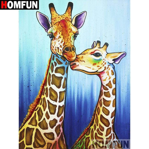 5D Diamond Painting Two Abstract Giraffes Kit