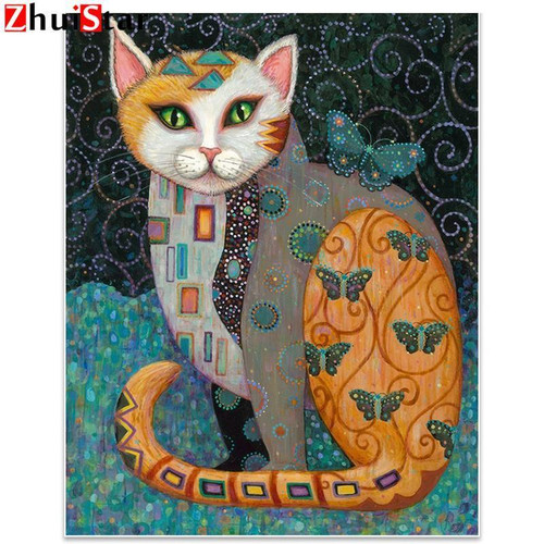 5D Diamond Painting Abstract Butterfly Cat Kit