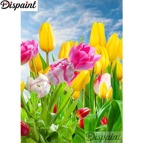 5D Diamond Painting Yellow and Pink Tulips Kit