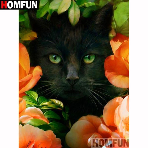 5D Diamond Painting Black Cat in the Orange Flowers Kit