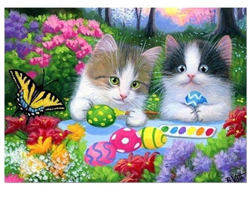 5D Diamond Painting Kittens Painting Eggs Kit