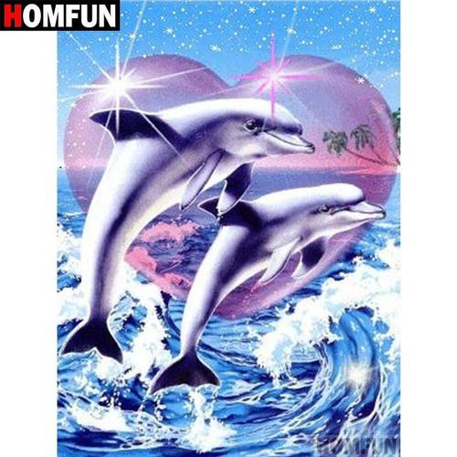 5D Diamond Painting Two Dolphin Heart Kit