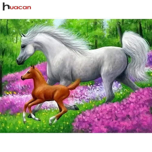 5D Diamond Painting Horses Galloping in the Flowers Kit