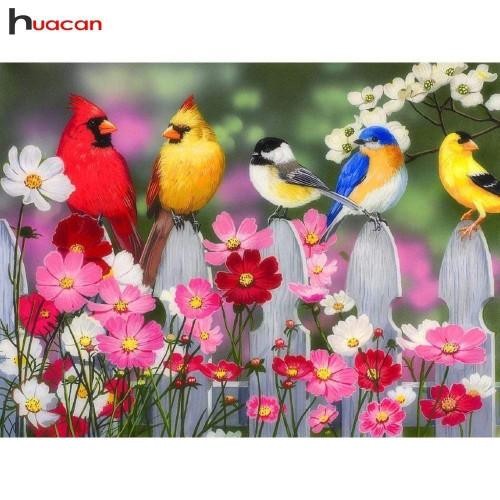 5D Diamond Painting Birds on the White Picket Fence Kit
