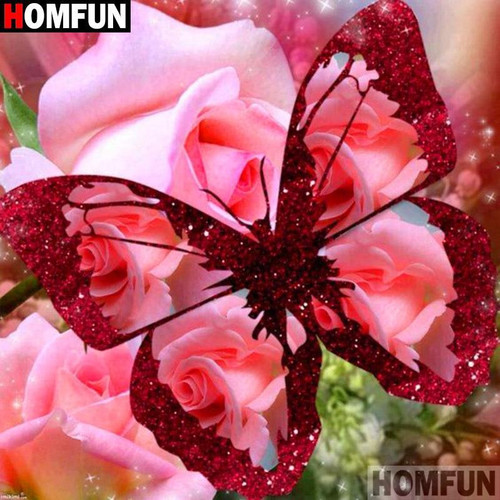 5D Diamond Painting Pink Rose Butterfly Kit