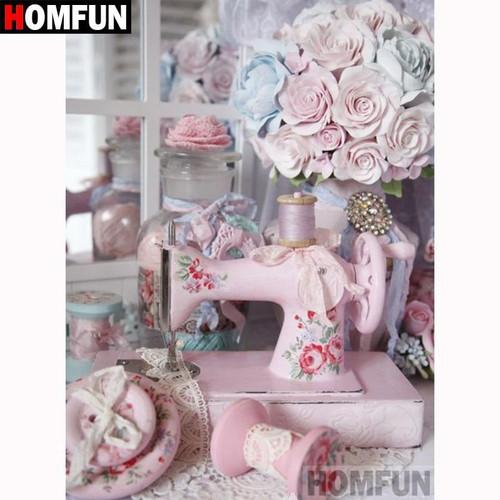 5D Diamond Painting Pink Sewing Machine Kit