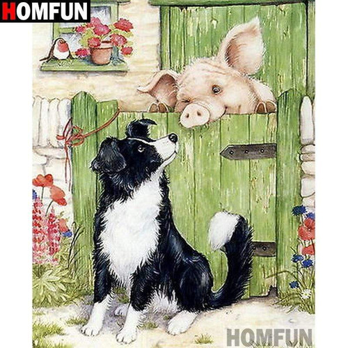 5D Diamond Painting Border Collie and a Pig Kit