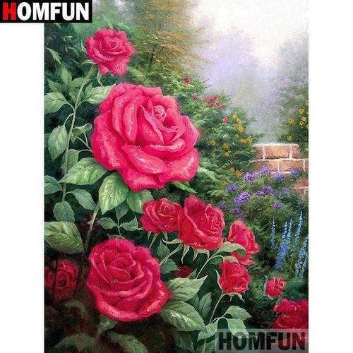 5D Diamond Painting Roses by the Brick Wall Kit