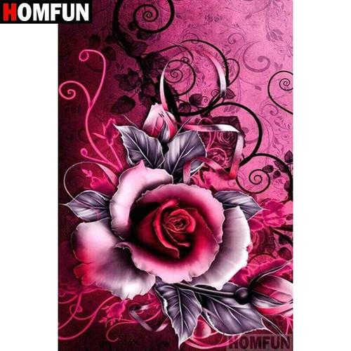 5D Diamond Painting Pink and Black Rose Kit