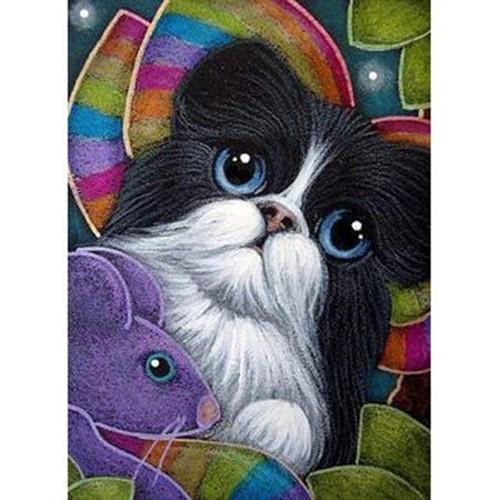 5D Diamond Painting Kitten and Purple Mouse Kit