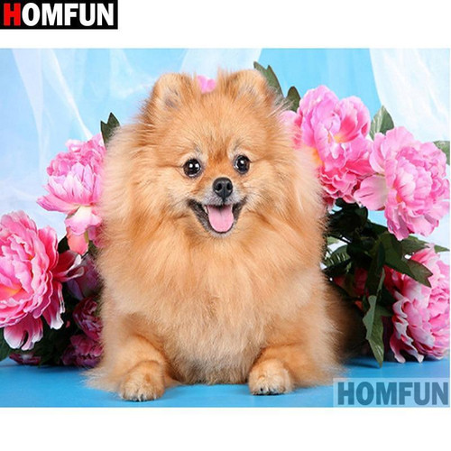 5D Diamond Painting Pink Flowers and a Pomeranian Kit