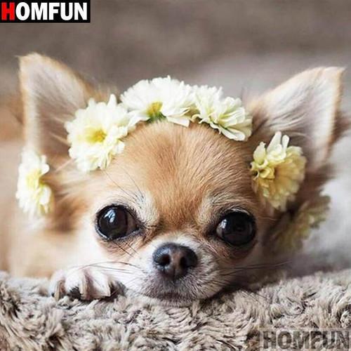 5D Diamond Painting Yellow Flower Chihuahua Kit