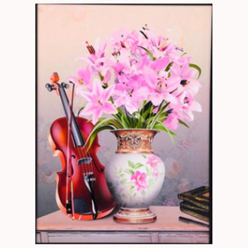 5D Diamond Painting Pink Lilies Violin Kit