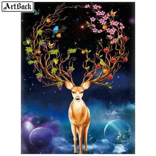 5D Diamond Painting Flower Deer Antlers Kit