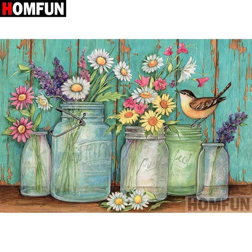 5D Diamond Painting Jars of Flowers Kit