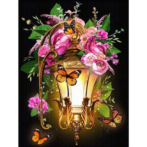 5D Diamond Painting Pink Flower Lantern Kit