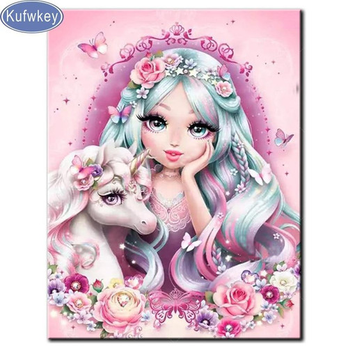 5D Diamond Painting Little Unicorn and a Girl Kit