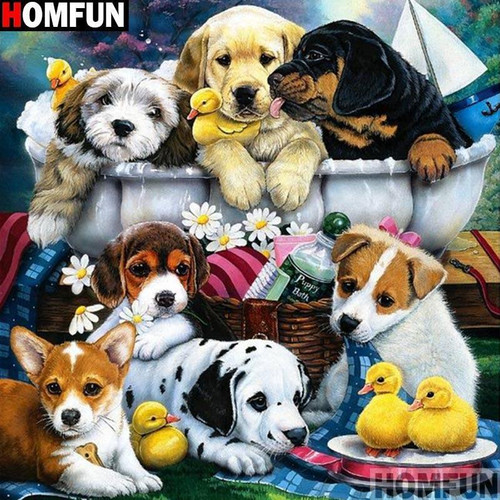 5D Diamond Painting Seven Puppies and a Bath Tub Kit