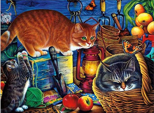 5D Diamond Painting Three Cats in the Potting Shed Kit
