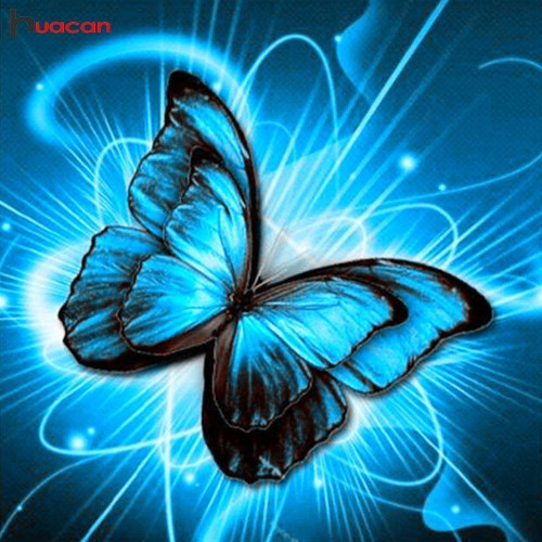 5D Diamond Painting Electric Blue Butterfly Kit