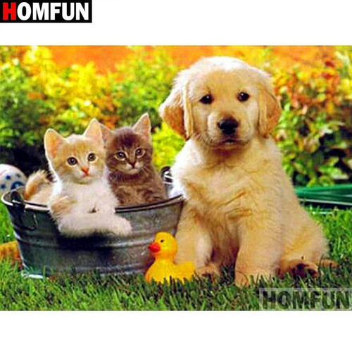 5D Diamond Painting Puppy and Two Kittens Kit