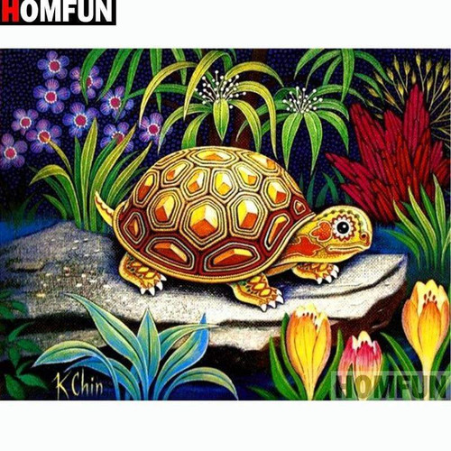5D Diamond Painting Yellow Turtle in the Flowers Kit