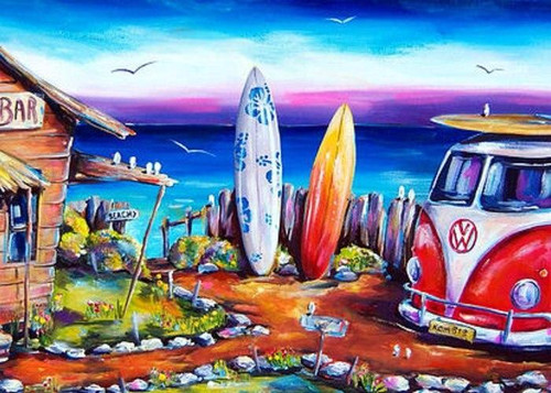 5D Diamond Painting Two Surf Boards Kit
