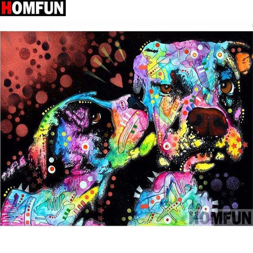 5D Diamond Painting Abstract Puppy and Dog Kit