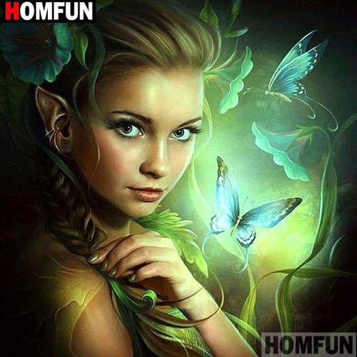 5D Diamond Painting Green Butterfly Girl Kit
