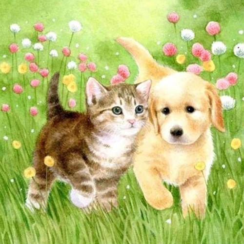5D Diamond Painting Puppy and Kitten Kit