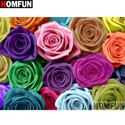5D Diamond Painting Lots of Colorful Roses Kit