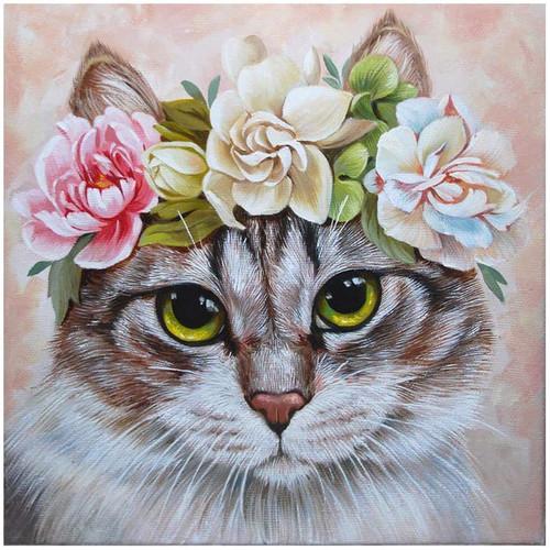 5D Diamond Painting Flower Crowned Cat Kit