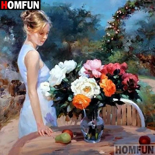 5D Diamond Painting Woman by the Table Kit
