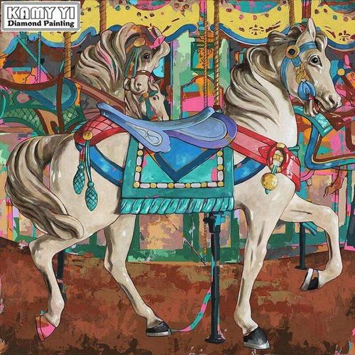 5D Diamond Painting Green Blanket Carousel Horse Kit