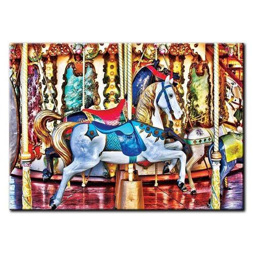 5D Diamond Painting Blue Saddles Carousel Horse Kit