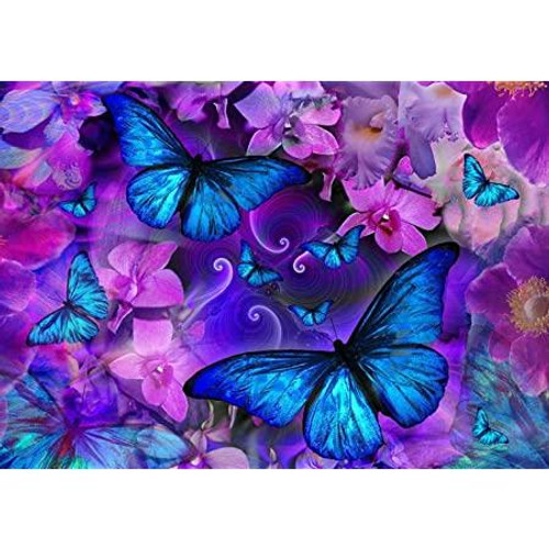 5D Diamond Painting Blue Butterflies and Flowers Kit