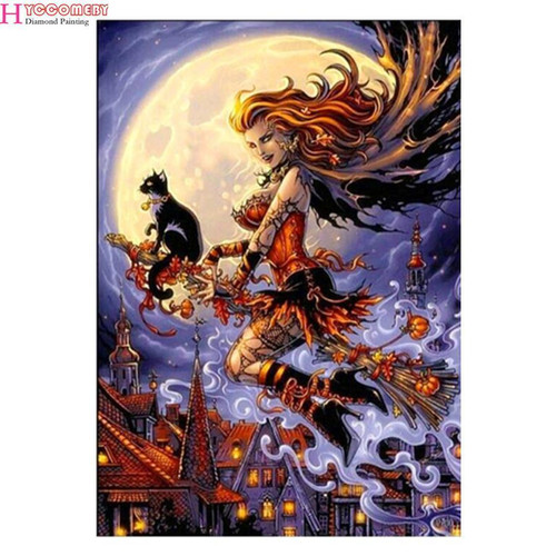 5D Diamond Painting Witch and Black Cat on a Broomstick Kit
