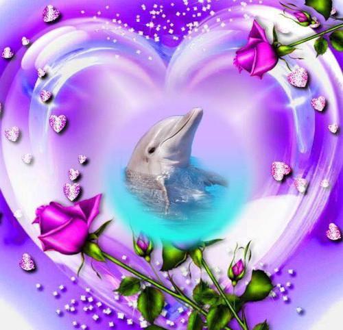 5D Diamond Painting Purple Dolphin Heart Kit