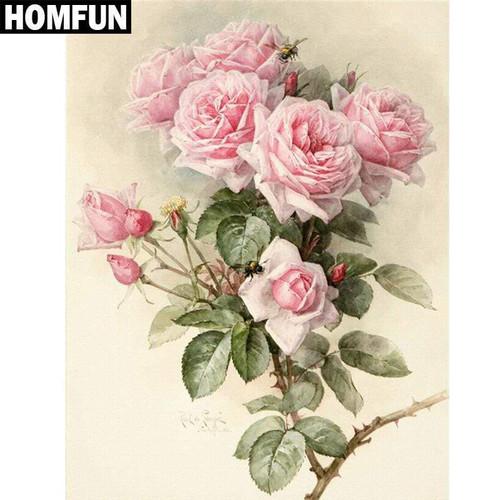 5D Diamond Painting Pink Rose Bush Kit