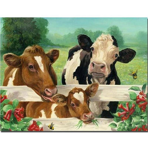 5D Diamond Painting Three Cows at the Fence Kit