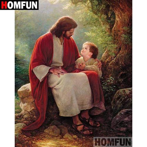 5D Diamond Painting Jesus and a Little Boy Kit