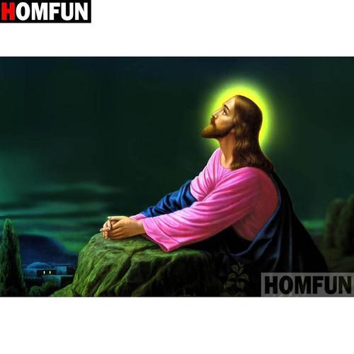 5D Diamond Painting Halo Jesus Praying on a Rock Kit